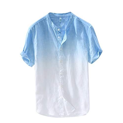 sunnymi ® Herren Hemd Sommer Männer Kühl und Dünn Atmungsaktiv Kragen Hängen Gefärbte Gradient Baumwollhemd