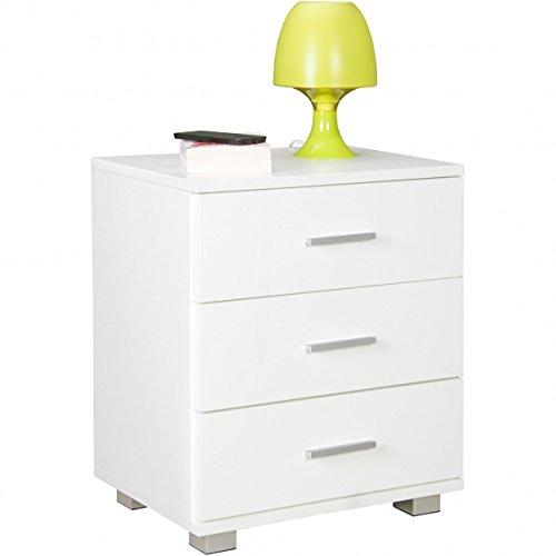 FineBuy Nachtkonsole Tina mit 3 Schubladen in Holz Weiß Modern | Breite: 45cm Höhe: 54cm Tiefe: 34cm | Design Nachtkästchen mit Füßen | Nako - Nachttisch Kommode | Nachtschrank