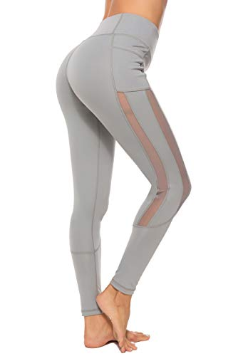 FITTOO Mallas Leggings Mujer Yoga de Alta Cintura Elásticos y Transpirables para Yoga Running Fitness B-Gris Large