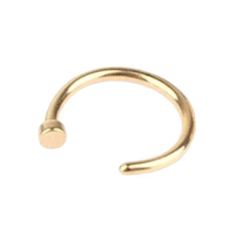 DYSCN Nose Stud Rings Stainless Steel Nose Hoop Rings Nose Clip Piercing Accessories for Women(Golden)