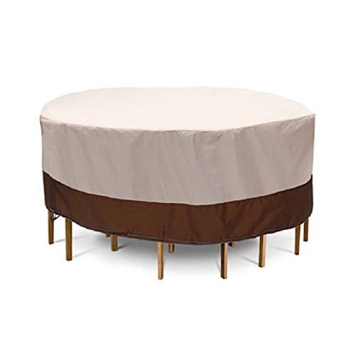 WWWSS Funda para Muebles de Jardín Exterior, Cubierta de Mesa de jardín para Patio, Impermeable Transpirable, para Muebles Redondos
