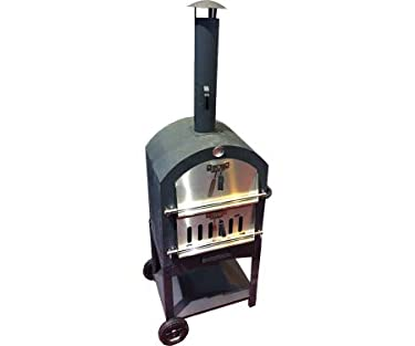 "Harbor Gardens KUK002B Monterey Pizza Oven with Stone, Stainless/Enamel Coated Steel,51.25"" H X 23.5"" W X 16.5"" D,Black"