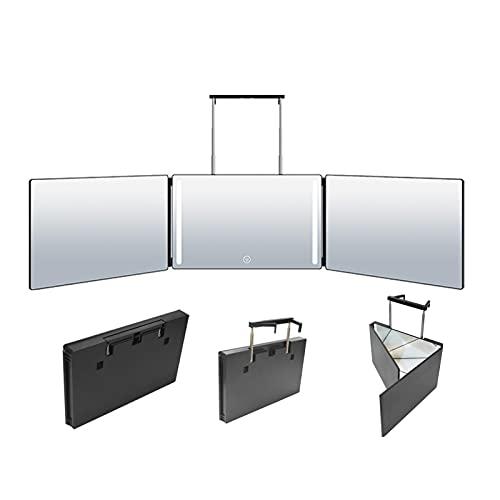 SJASD Espejo de 3 vías para Cortarse el Cabello con Ganchos Telescópicos Ajustables en Altura, Espejo de Corte de Cabello Triple 360 ° Espejo de Maquillaje Iluminado con LED