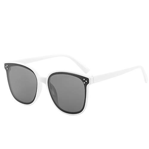 Epinki Unisex Polarisiert Sonnenbrille Rund Retro Brille UV400 Schutz   Vollrand   für Alltag, Party, Fahren - Weiß-Grau