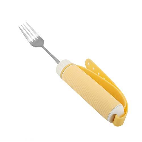 Nuevo juego de tenedor de cuchara de acero inoxidable, vajilla giratoria flexible extraíble para comer, utensilios para personas mayores con artritis para pacientes discapacitados(Fork)