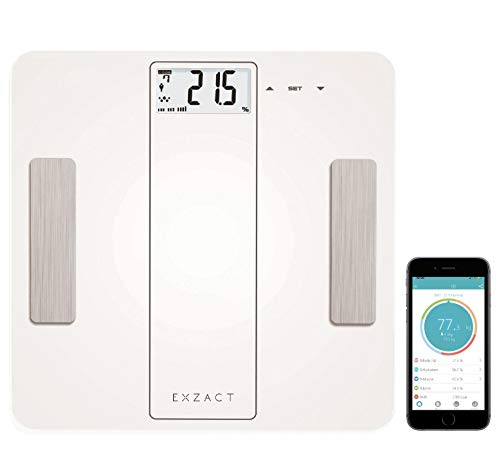 EXZACT Smart - Escala Analizadora Inteligente/Analizador Corporal/Báscula Personal Electronica/Báscula de Baño Digital - Bluetooth 4.0 (iPhone iOS/Android) - 180 kg/ 400 lb (Blanco)