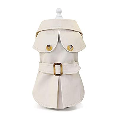 smalllee_lucky_store Pet British Style Trench Coat Jacket for Small Dog Cat Boy Girl Windproof Windbreaker Autumn Winter Puppy Clothes,Khaki,Size S
