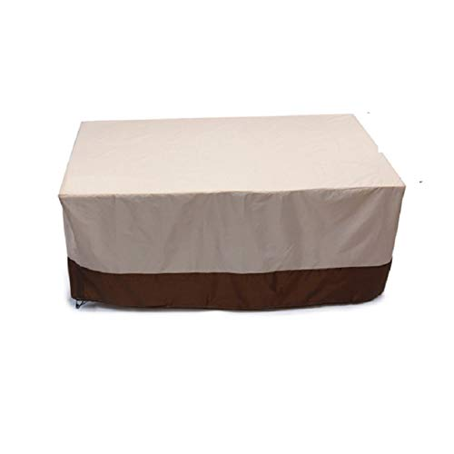 ZJBJ 210D Oxford Cloth Outdoor Garden Furniture Cover Courtyard Waterproof Cover Table and Chair Dust Cover Beige + Brown Protective Cover (Size : 67x38.2x28in)
