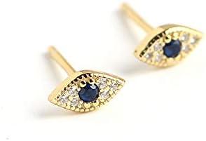 Dainty Evil Eye Mini Stud Earrings Sterling Silver Blue Crystal CZ Wedding Earring Ear Piercing product image
