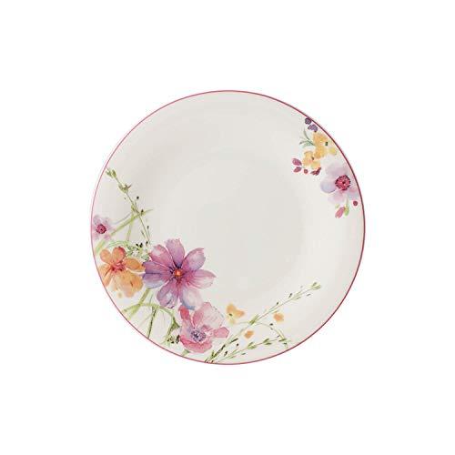 Villeroy & Boch Mariefleur Basic Frühstücksteller, runder Teller mit verspieltem Blumendekor aus Premium Porzellan, spülmaschinenfest, 21 cm