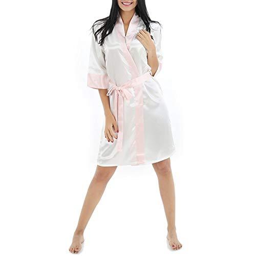 Crystallly Fy Dames Paar Kimono Robe Cardigan Badjassen Dressing Gowns Zijde Eenvoudige Stijl Robe Contrasterende Kleur Imitatie Zijde Dressing Jurk Tunieken Slaapmode Sauna Spa Bruiloft Party Gift