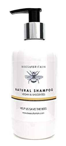 NATURAL pH BALANCED SHAMPOO - VEGAN & UNSCENTED - 250ml - by BEES of BRITAIN - No Sulfates, No Parabens, No Silicone. We Donate 5% of our Profit to Help Save Bees and Pollinators.
