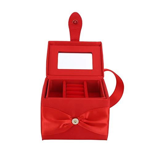OIHODFHB Caja de almacenamiento portátil roja de joyería doble capa pendiente collar anillo organizador caso