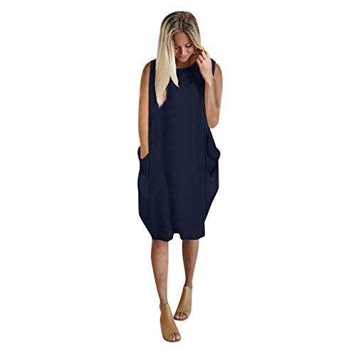 Binggong Ärmellos Pulloverkleid Jumper Minikleid Große Größen Solide Skaterkleid Freizeit Kleider Fließendes Shirt Lose Rundhals Tunika Tops mit Taschen