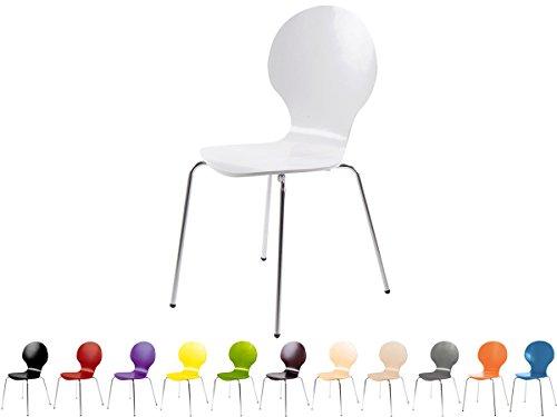 Stapelstuhl Bistrostuhl Stuhl Esszimmerstuhl Küchenstuhl Design Metall Holz stapelbar sehr belastbar Marcus (Weiß)