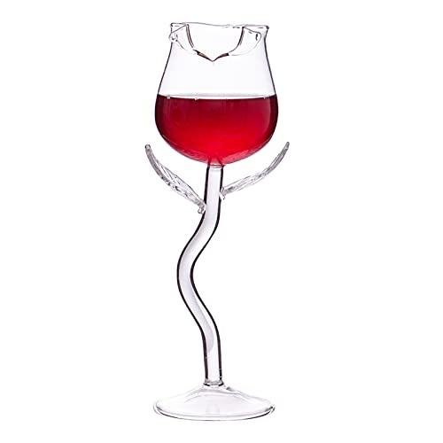 ASDFK Juego de copas de vino rosa con forma de flor para el hogar, fiesta de verano