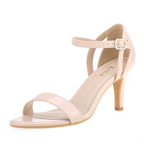 ZriEy Women's Sexy Stiletto Sandals Strappy Leather Nude Heels Open Toe Ankle Strap Bridal Party Wedding Shoes Size 9