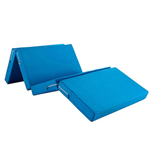 4 Folding Foldable Futon Floor Mattress, Memory Foam Mattress Sofa Bed with Washable Cover Mattress Pad Topper for Guest Room Student Dormitory Small Apartment-Sky blue-70x200x5cm