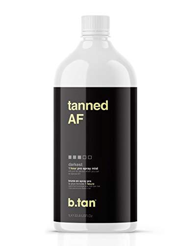 b.tan Spray Tan Solution - tanned af Pro Spray Mist, Darkest Sunless Airbrush Tanning Solution for a 100% Natural, Fast, Ultra Dark Tan - Use with Spray Tan Machine, Spray Tan Tents, 33.8 fl oz