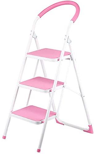 LUBENWEI Sgabelli Step, Sgabello da scaletta a 3 gradini, stepladders Portatili, sgabelli a Passo, Antiscivolo Ultra Largo Pedale, Robusto Peso Leggero e Design Sottile. (Color : Pink)