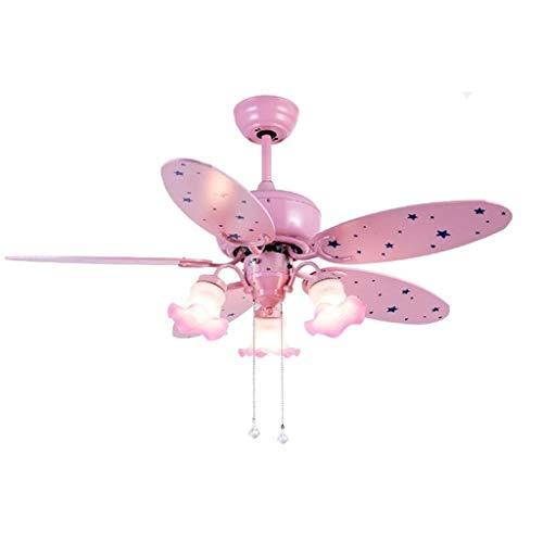 Indoor plafondventilator licht 42-inch kinderkamer roze trompet plafondventilator licht-5 vellen 3 lampen Princess Room kroonluchter fan omgekeerd slaapkamer plafondlamp (roze) verlichting decor