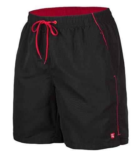 Zagano Badehose, Herren Badeshorts, Boardshorts für Männer mit Kordelzug, Badehose, Sporthose, Shorts S-6XL, Schwarz, hergestellt in der EU