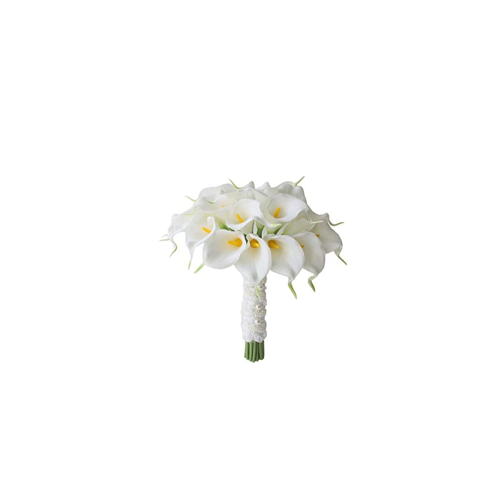 11″ Lily Bridal Wedding Festival Decor Bouquet Real Touch Latex Flower Bouquet (Milky White)