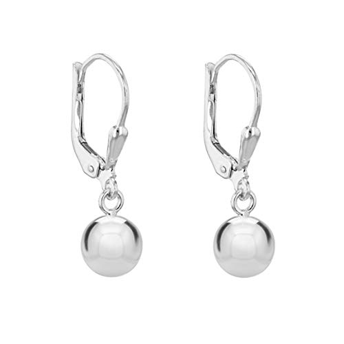 Tuscany Silver Women's Sterling Silver 10 mm Round Ball Lever Back Drop Earrings