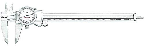 """Starrett 3202-8 Dial Caliper, Hardened Stainless Steel, 0-8"""" Range, 0.001"""" Graduation, White"""