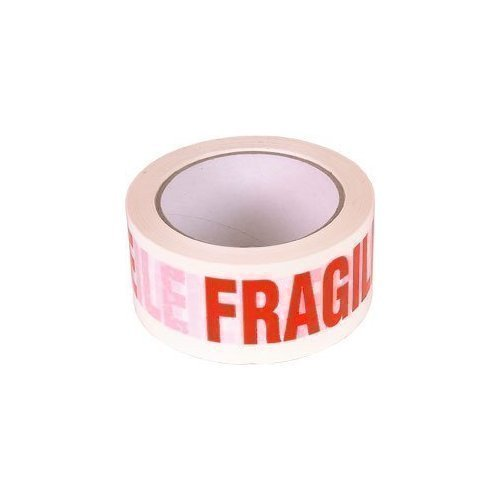 6 Rolls Fragile Printed Adhesive Packing Tape 50m x 48mm 36 Micron Super Durable Strong Red on White REALPACK