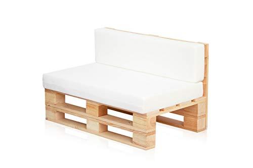 Conjunto Sofa DE PALETS + Set Cojines (Asiento + Respaldo) (120X80, Blanco Transpirable)