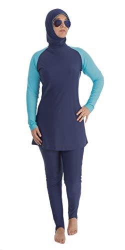 Beco Damen Tesettür, Hijab Badeanzug Wetsuit Wassersport Oberteil mit Hose Swimwear Beachwear Burkini für muslimische Frauen und Mädchen 3 Teilig, Marine/Blau, XL