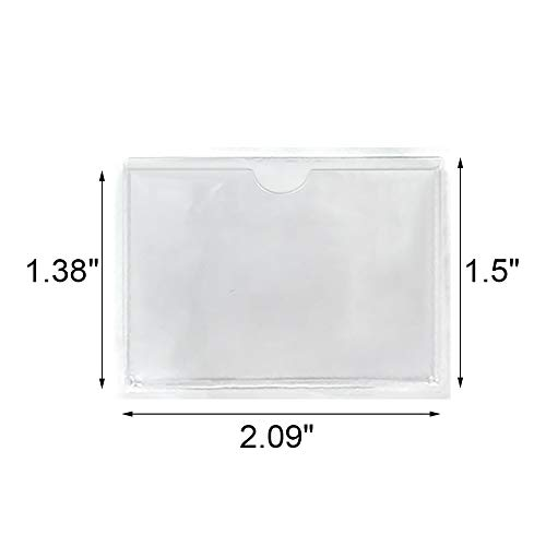 """100-Pack Self-Adhesive Label Holder Press-On Sleeves Index Card Pockets for Label Parking Permit Business Card-Horizontal-2.09"""" x 1.5"""" Photo #3"""