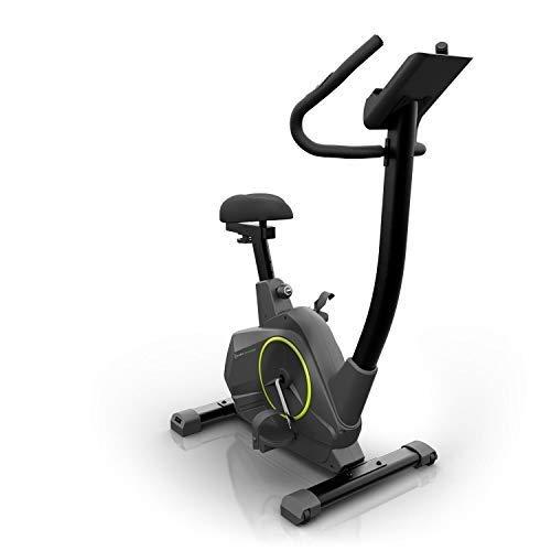KLAR FIT Epsylon Cycle - Vélo d'appartement, 24 Niveaux, Système de freinage magnétique, Support de Tablette, Capteur de fréquence cardiaqu, Charge Max: 120kg, olant d'inertie de 12kg, Noir