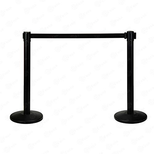2 postes separadores negros con cinta extensible negra de 3 metros