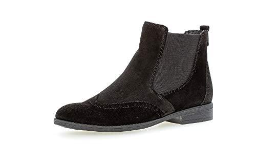 Gabor Damen Stiefeletten, Frauen Chelsea Boots, Freizeit Stiefel halbstiefel Bootie Schlupfstiefel flach weiblich Lady Ladies,schwarz,40 EU / 6.5 UK