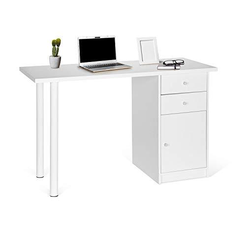 hjh OFFICE 634748 Schreibtisch Easy Work III 120 x 50 cm Holz Weiß Computertisch mit Schubladen und Schrank