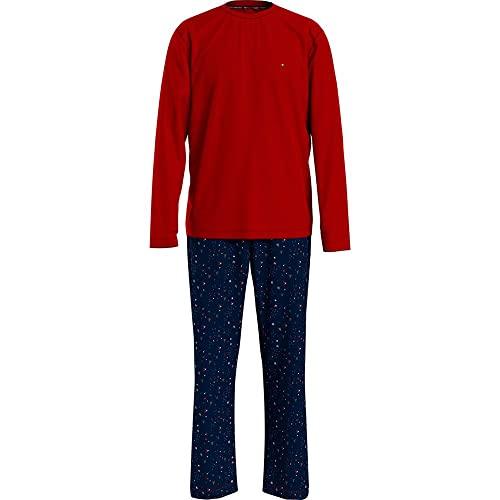 Tommy Hilfiger Cn LS Pant Jersey Set Print Juego de Pijama, Primary Red/Festive Scatter, L para Hombre