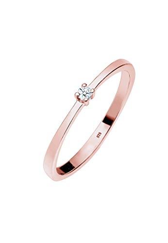 DIAMORE Ring Damen Verlobung Klassisch Diamant (0.03 ct) aus 925 Sterling Silber