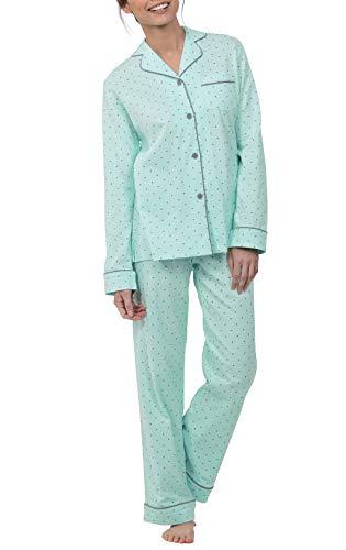 PajamaGram Ladies Pajamas Sets - Pajama Sets for Women Cotton, Mint, SM