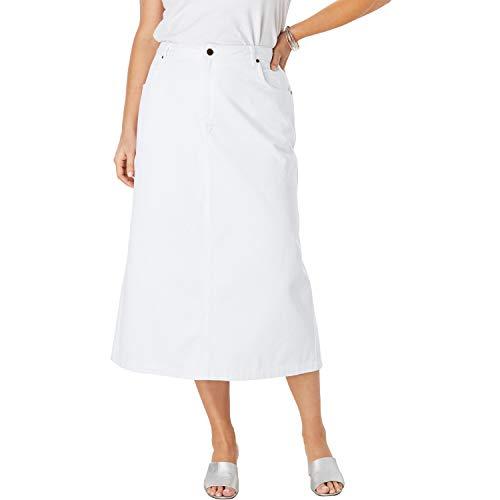 Jessica London Women's Plus Size Classic Cotton Denim Long Skirt - 18, White