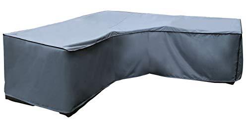 SORARA Schutzhülle gartenmöbel Abdeckung für Eckbank | L Form Lounge abdeckplane | Grau | 300 x 300 x 90 x 60/90 cm | Wasserbeständig