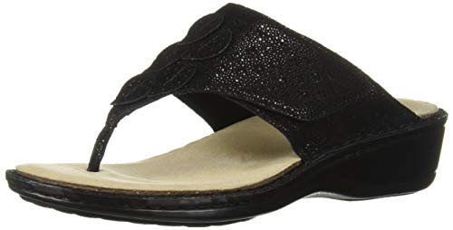 Aravon Women's Cambridge Thong Shoe, Black, 5 Wide