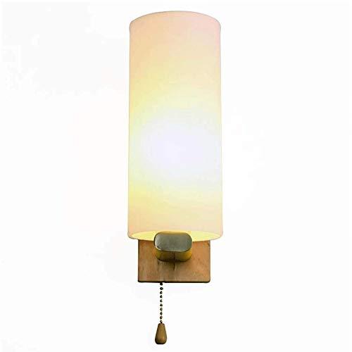 Stevige Houten wandlamp met Glass Lampekap, Slaapkamer Balkon Trap Aisle Modern Personality Wandkandelaars E27