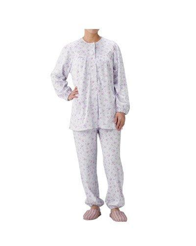 介護パジャマ 婦人用オールシーズンパジャマ BK1801/M パープル小花柄