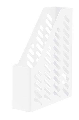 HAN Stehsammler KLASSIK 1601-12 in Weiß/Zeitschriftensammler in klassischem Design/Zur geordneten Aufbewahrung von Dokumenten, Heften & Mappen bis Format A4–C4, 10 Stück