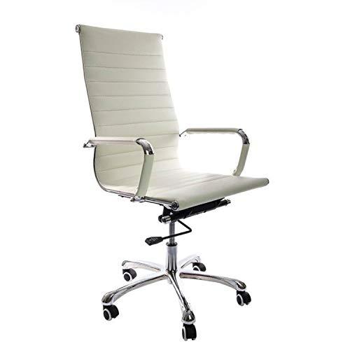 Vivol Madrid Schreibtisch Stuhl Weiß | Kunstleder Bürostuhl Ergonomisch | Bürostuhl 120 kg | Drehstuhl mit Rollen und Armlehnen