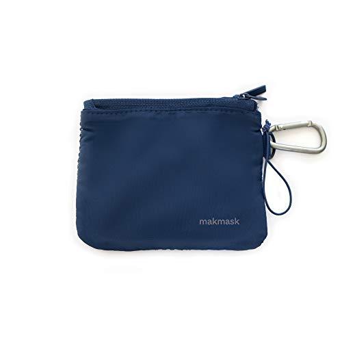 Makmask bag - Porta Mascarillas - Color Azul - 14 x 11 cm - Doble Compartimento - 100% Poliéster - Guarda tu Mascarilla - Máxima Protección - Incluye Mosquetón Metálico - Fácil de Transportar