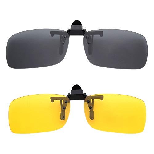 BOZEVON Clip auf Sonnenbrillen - Herren/Damen Flip-Up Polarisierende Sonnenbrillen Nachtsichtgläser Fit Over Brillenträger für Autofahren und Außenbereich, 1 * Grau & 1 * Gelb - L