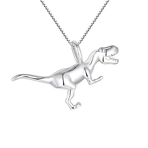 YL Collier en argent de dinosaure argent 925 3D Tyrannosaure collier pendentif bijoux pour femmes et hommes